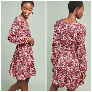 Anthropologie Maeve Paisley Belted Dress